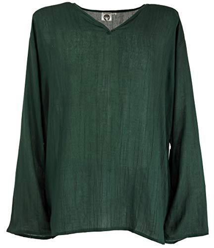 Guru-Shop, Camicia Yoga, Camicia Goa, Camicia Casual, Verde Abete, Sintetico, Dimensione Indumenti:XL, Camicie
