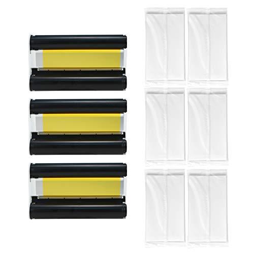 Aibecy Juego de papel fotográfico de sublimación térmica KP-108IN Cartucho de tinta de color de 3 paquetes+108 hojas de papel fotográfico Compatible con la impresora fotográfica Canon Serie CP