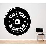 zqyjhkou Haltérophile Vinyle Stickers Muraux Sports Fitness Hommes de Gymnase Jeunesse Dormi Chambre Décoration de La Maison Sticker Mural57x57cm