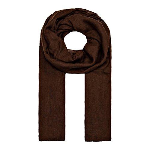 MANUMAR Schal für Damen einfarbig | Hals-Tuch in dunkel-braun als perfektes Herbst Winter Accessoire | Klassischer Damen-Schal | Stola | Mode-Schal | Geschenkidee für Frauen und Mädchen