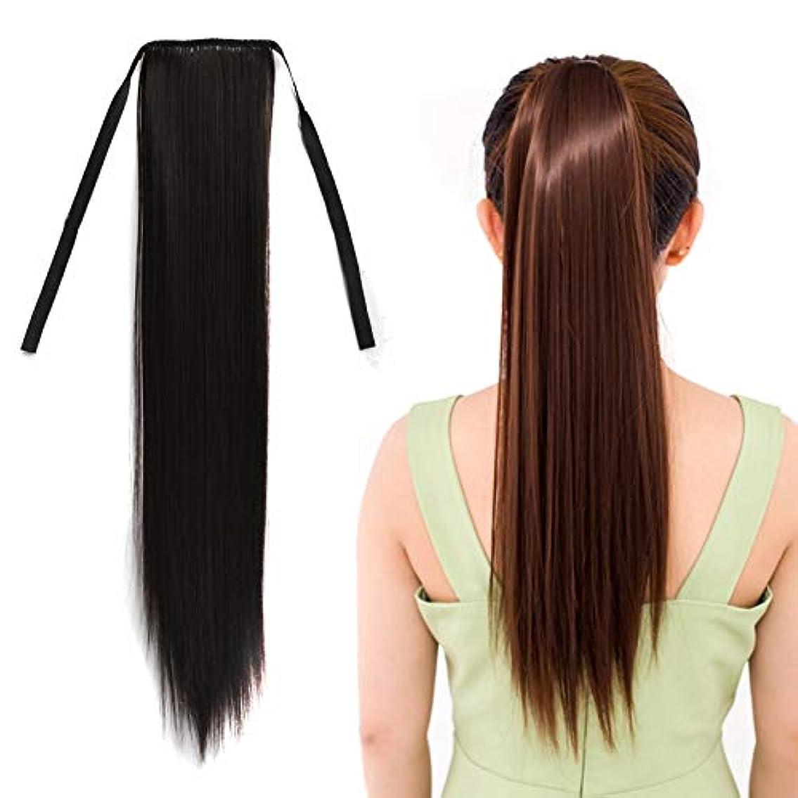 未使用あえて驚くばかりWTYD 美容ヘアツール ナチュラルロングストレートヘアポニーテールBandagestyleウィッグポニーテール、長さ:60cm (色 : Black)