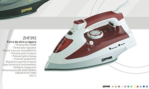 FERRO DA STIRO 2200W Zephir termostato regolabile piastra inox autopulente getto vapore e getto acqua