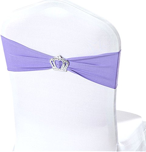 50Pcs Spandex Elastic Chair Sashes Bow Crown-Shape Buckle Slider Wedding Cover 25 Colors, Lilac