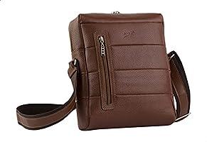 Seven K Genuine Leather Front-Pocket Detachable Shoulder Strap Zipped Crossbody Bag for Men - Brown