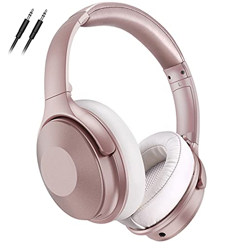 Pink Noise Cancelling Headphones, 45Hrs Playtime Wireless 5.0 Headphones Over Ear with Microphone, Fast Charge, Deep Bass, Wired Wireless Headset for Girls, Boys, Women, Online Class, Home Office