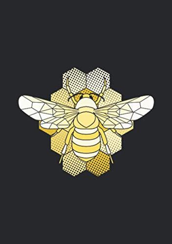 Notizbuch A5 dotted, gepunktet, punktiert mit Softcover Design: Gelbe Honigbiene auf Honigwaben Biene Honig Imker Geschenk: 120 dotted (Punktgitter) DIN A5 Seiten
