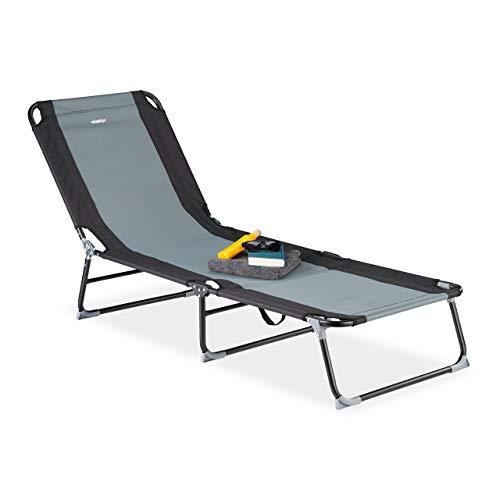Relaxdays grau Gartenliege, 5-stufig verstellbar, klappbare Dreibeinliege für Garten oder Camping, bis 113 kg, schwarz, Stahl