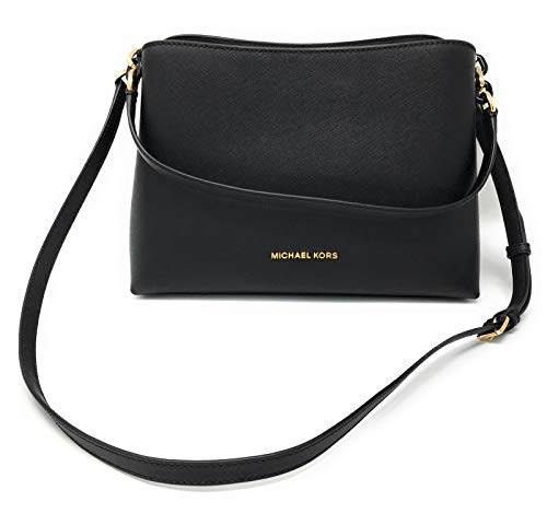 """Saffiano Leather, Golden Hardware Open top with strap fastening 12.5""""(L) X 8.5""""(H) X 5""""(D) Shoulder strap with 9"""" drop; Comes with Adjustable and Removable Shoulder Strap Interior Center zip compartment, 7 open slip pockets and 1 side zip pocket 12.5..."""