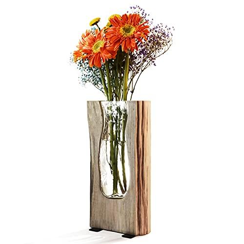 Ulif Vaso a bulbo con Supporto in Legno Vintage per Piante idroponiche Vaso da Fiori in Vetro per la Decorazione Domestica
