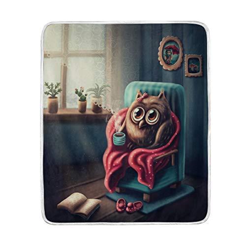 Use7 Home Decor süße Eule Vogel Decke weich warme Decken für Bett Couch Sofa Leichtes Reisen Camping 127 cm x 152,4 cm Überwurfgröße für Kinder Jungen Damen