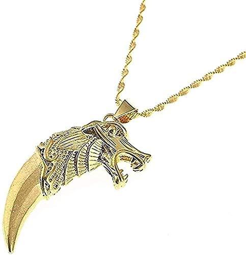 Collar de moda de color dorado con colgante de diente de lobo para hombres y mujeres, cadena de colmillo de lobo, joyería de animales, collar con colgante para niñas y niños, regalo