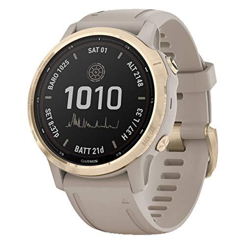 Garmin Fenix 6S Pro Solar Smartwatch Beige/Weißgold 010-02409-11