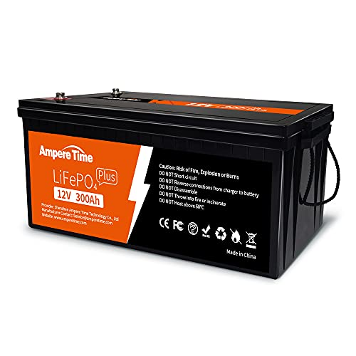 Ampere Time 12V 300Ah Lithium LiFePO4 Battery, Built-in 200A...