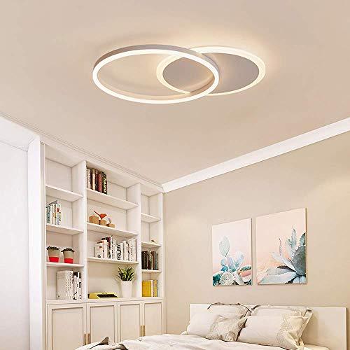 Deckenleuchte Led Deckenlampe Modern Ring Design Acryl Metall Bad Wohnzimmer Kuche Kinderzimmer Schlafzimmer Luster Klemmen Runde Minimalistisches Beleuchtung Lichter Weiß (3000K, 2-Runden)