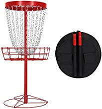 Yaheetech Practice 24-Chain Portable Disc Golf Basket Target and Accessories W/Carrying Bag Red