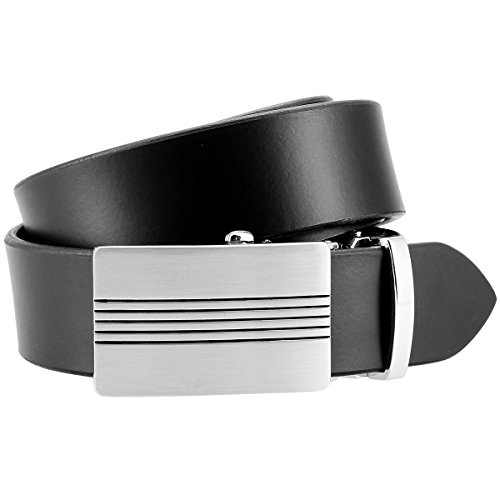Lindenmann Mens leather belt/Mens belt, leather belt XL with autolock buckle, black, Größe/Size:100, Farbe/Color:noir
