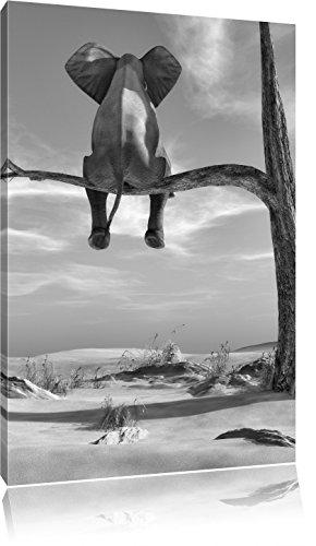 Pixxprint Elefant auf einem AST in der Wüste als Leinwandbild | Größe: 100x70 cm | Wandbild | Kunstdruck | fertig bespannt