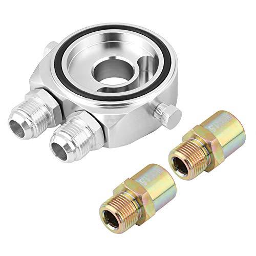 KIMISS Aluminium M20 x 1,5 Aluminium Oil Filter Sandwich Plate Adapter 1/8 NPT Ölkühler Kit(silber)