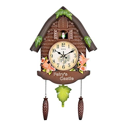 ZHJIUXING ST Reloj de Cuco de la Selva Negra de Madera auténtica, Mecanismo de Cuarzo a Pilas y Llamada de cucú, B