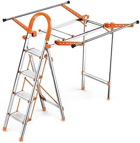 WYKDL Rango de Trabajo escalera con plataforma plegable del hogar taburete de paso ancho pedal robusto Escalera del Mango antideslizante hogar escalera plegable secado Panel de cubierta multiusos de d