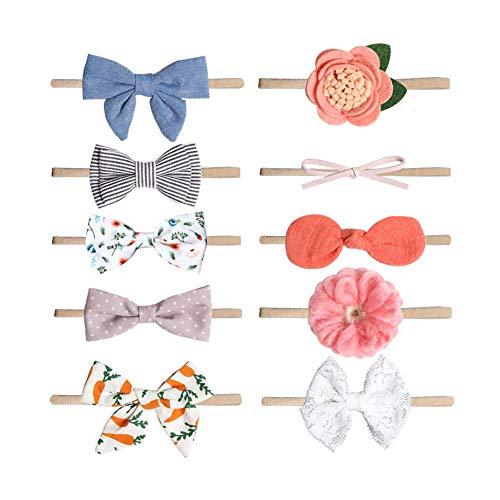 Xiton 10 PC-Baby-Stirnband-Haarband Bowknot Blumen-Kind-Haar-Zusätze Kopfbedeckung für Neugeborene Kind-Kleinkind-Fotografie