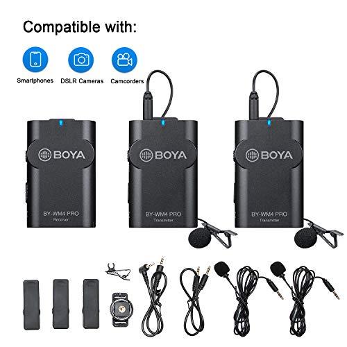 BOYA BY-WM4 Pro K2 Tragbares 2,4-G-Funkmikrofonsystem (zwei Sender + ein Empfänger) mit Hartschalenetui für DSLR-Kamera-Camcorder Smartphone-PC Tablet-Sound Audio-Aufnahme Interview
