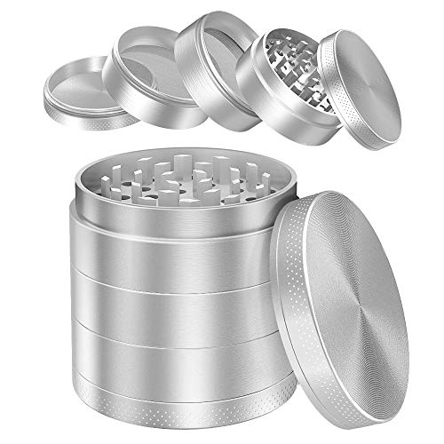 iRainy [5 Piece] Spice Herb Grinder with Pollen Catcher, 2.1 Inch, Metal Black (Silver)