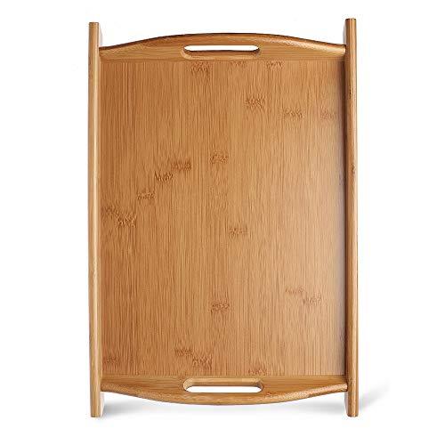 ZLSP Las bandejas de bambú, platos de servir de madera, bordes elevados y ligero, perfecto for el desayuno en la cama y té, Bandeja for servir con asas ZLSP (Size : 44 * 30cm)