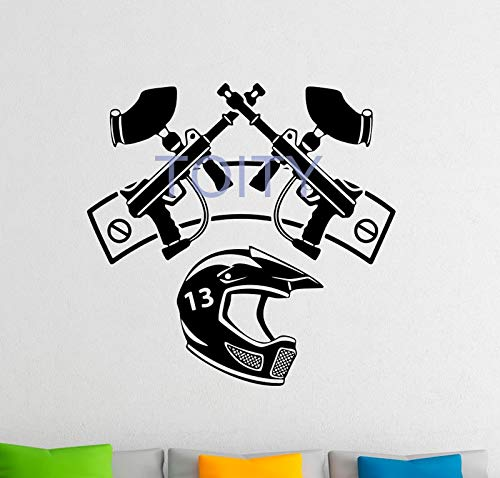QIEGAO Paintball Logo Wandtattoo Paintball Titel Vinyl Aufkleber Extremsport Home Interior Design Schlafzimmer Home G.-58x59cm