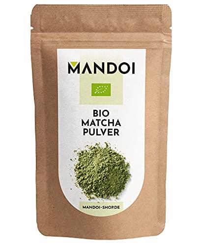 Mandoi BIO Matcha Tee Pulver, 100g Matchapulver, Green tea powder, Grünteepulver ideal für Smoothies, Shakes oder zum backen