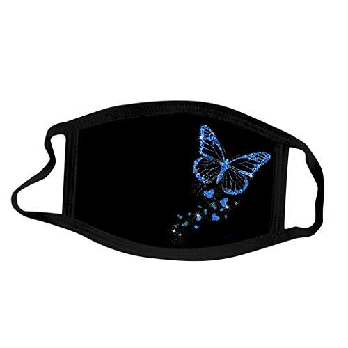 Eariy 5 Stück Dame Schmetterling Druck Staubdicht Wiederverwendbare Baumwolle Tuch Gesicht mit elastischen Ohrbügel Bequemes Gesicht Für jeden Anlass