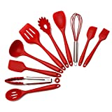 DaMohony Juegos de utensilios de cocina de silicona, 10 piezas de cocina herramientas de cocina Turner pinzas espátula cuchara utensilios de cocina