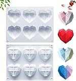 Heart Molds for Chocolate Diamond Heart Silicone Molds for Chocolate Bombs Heart Shaped Silicone...