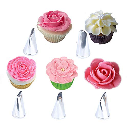 Yothfly Flower Petal Russian Piping Tips Set Sultan Baking Nozzle Russian Pastry Nozzles Cake Decorating Baking Tools Kit 5pcs