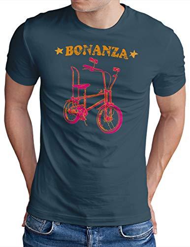 OM3® Bonanza Fahrrad T-Shirt   Herren   Retro Vintage Rad Bonanzarad I   Denim, XL