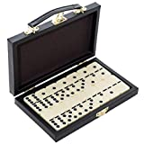 Edgewood Toys Dominoes Set - 28 Pieces Double Six 1.75-inch Dominos Set Condensed in Durable Travel Wooden Case - Great for Teaching The Game Or Playing On The Go | 2-4 Players