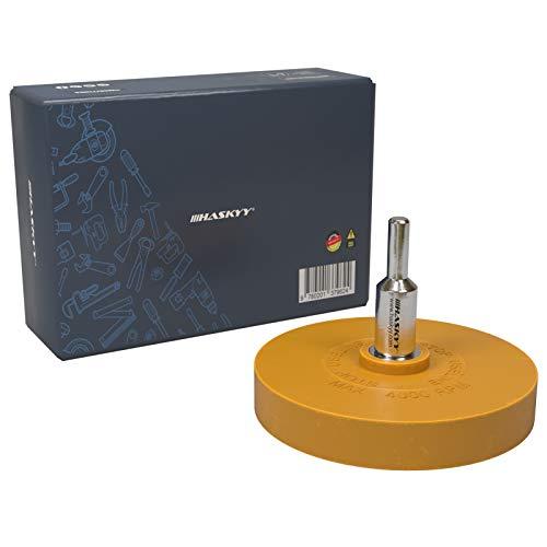 Haskyy 1x Rueda borrador de goma para adhesivo adhesivo 1x Adaptador para la eliminación profesional de residuos de película y adhesivo en el vehículo, coche o motocicleta