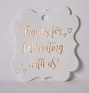 Fancy Frame Gift Tags, Rose Gold Foil, 30 Pack,Thank You Tags, Gift Tags, Print Party Hearts Collection (Rose Gold Tags Frame 2)