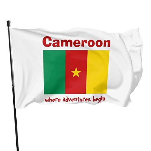 Yaxinduobao Cameroon Flag + Map + Text Flag Banderas de la Bandera,3 * 5ft