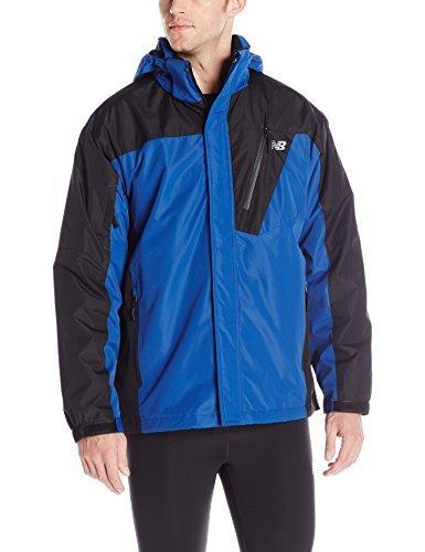 New Balance Men's 2 Tone Laminated Polyester Systems Jacket, Atlantic/Black, Large