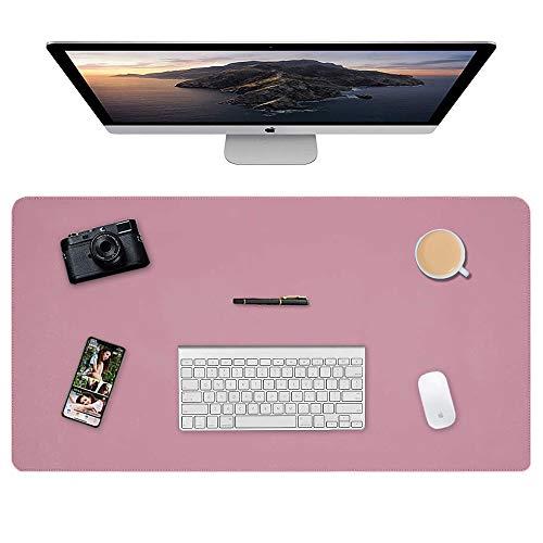 Almohadilla de escritorio, 90 x 40cm Ultra fino Alfombrilla para ratón impermeable almohadilla protectora de escritorio del cuero de PU alfombrilla de escritorio de doble cara (Rosa + Púrpura)