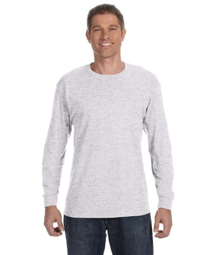 Hanes TAGLESS 6.1 Long Sleeve T-Shirt, Ash, XL