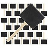 US Art Supply 3 inch Foam Sponge Wood Handle Paint Brush Set (Super Value Pack of 30 Brushes) - Lightweight, Durable and Great for Acrylics, Stains, Varnishes, Crafts, Art