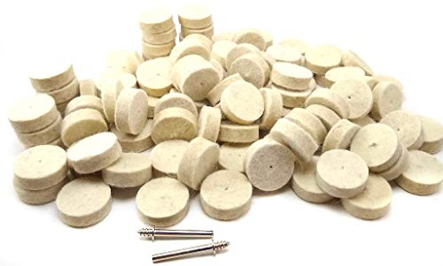 DRILAX Wool Felt Buffing Polishing Wheels 429 Compatible with Dremel Polishing Kit for Jewelry 1 inch Diameter Thick 2 Screw Mandrel 401 1/8 inch Shank Rotary Tool 102 Pieces