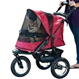 Pet Gear No-Zip Jogger Pet Stroller for Cats/Dogs, Zipperless Entry, Easy One-Hand Fold, Air Tires, Cup Holder + Storage Basket, Rugged Red