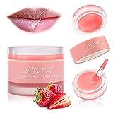 Lip Scrub,Double Effect Lip Sleeping Mask, Lip Treatment,Strawberry Overnight Moisturizing Repairing Lips Mask, Hydrate & Plump Dry, Chapped Lips, Peeling Lips