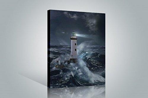 1art1 Leuchttürme - Leuchtturm Bei Sturm Im Mondlicht Bilder Leinwand-Bild Auf Keilrahmen | XXL-Wandbild Poster Kunstdruck Als Leinwandbild 120 x 80 cm