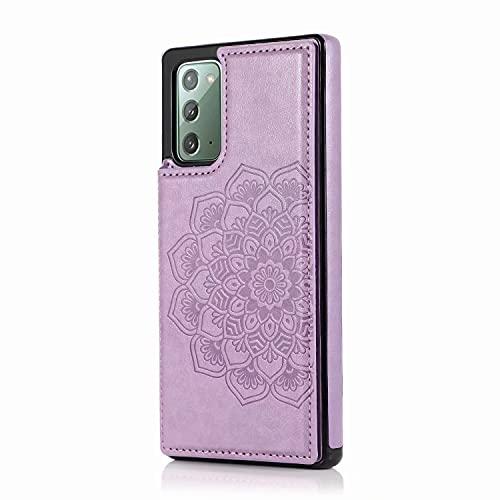 Lijc Compatible con Funda Samsung Galaxy Note 20 Botón Doble Mandala En Relieve PU Cuero Tarjeta Bolsillos [Ranura para Tarjetas] [Soporte Plegable] Antigolpes Flip Caso-Púrpura