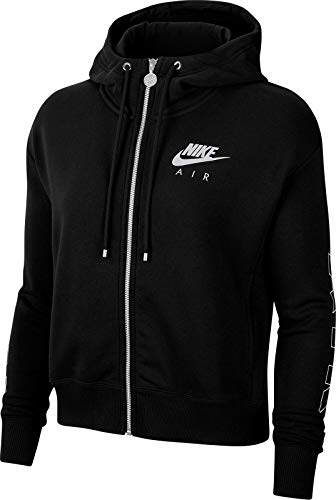 Nike Damen W NSW AIR Hoodie FZ FLC BB Sweatshirt, Black/(Ice Silver), S