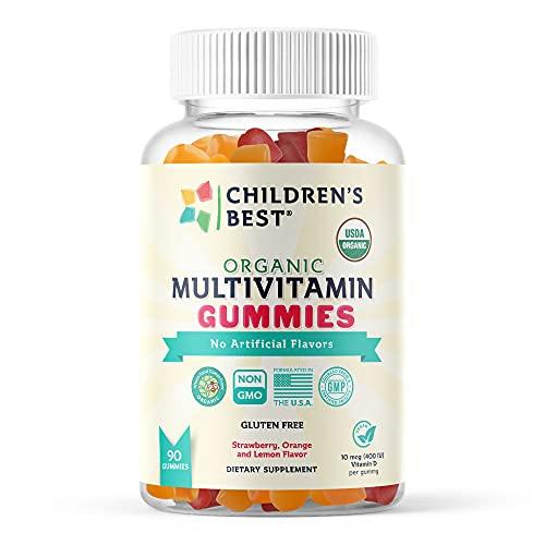 Children's Best Organic Kids Multivitamin Gummies with Biotin, Vitamin A, B6, B12, C, D, Folate, Zinc - 90 Fruit Flavored Gummies